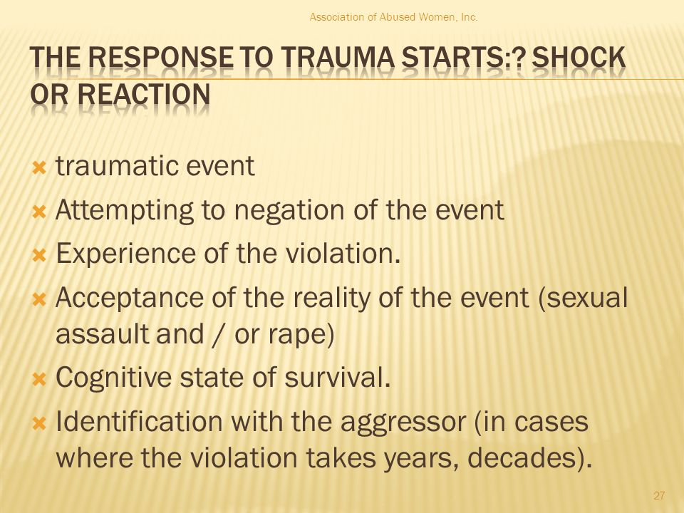  traumatic event  Attempting to negation of the event  Experience of the violation.