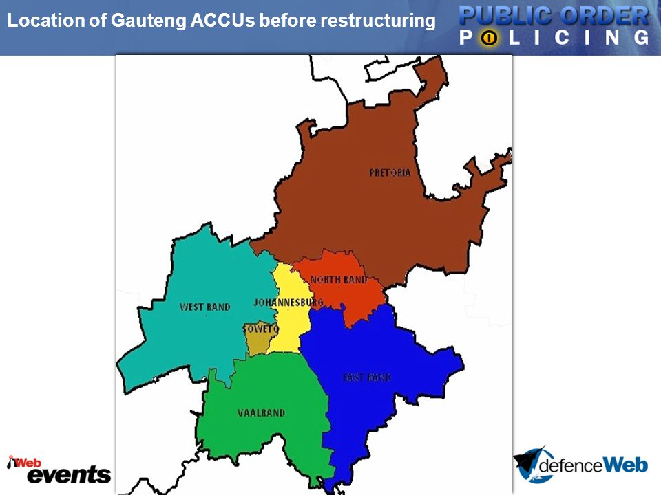 Location of Gauteng ACCUs before restructuring