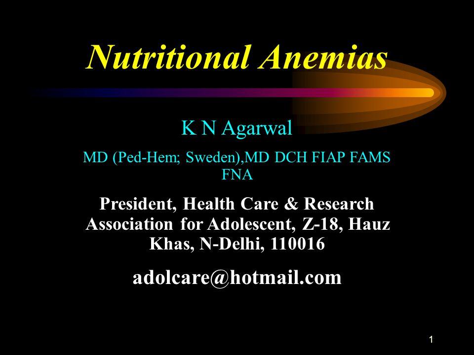 2 Definition of nutritional anemia.● Hemoglobin g/dl cut off-.