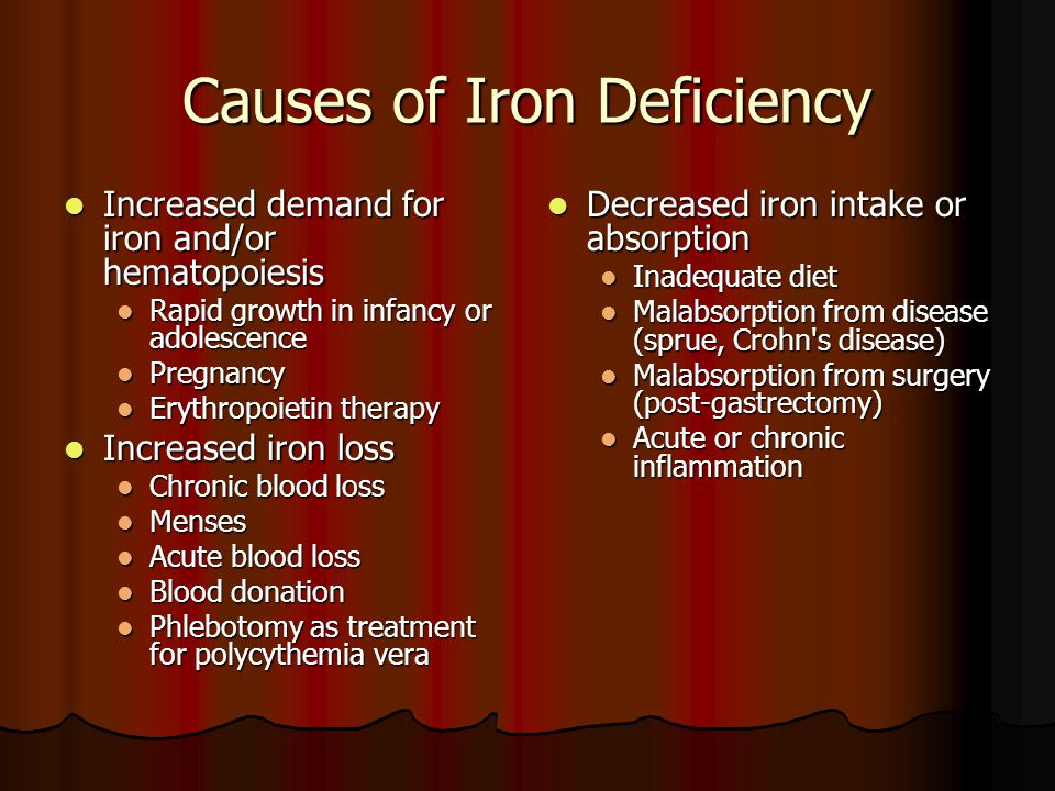 Causes of Iron Deficiency Increased demand for iron and/or hematopoiesis Increased demand for iron and/or hematopoiesis Rapid growth in infancy or adolescence Rapid growth in infancy or adolescence Pregnancy Pregnancy Erythropoietin therapy Erythropoietin therapy Increased iron loss Increased iron loss Chronic blood loss Chronic blood loss Menses Menses Acute blood loss Acute blood loss Blood donation Blood donation Phlebotomy as treatment for polycythemia vera Phlebotomy as treatment for polycythemia vera Decreased iron intake or absorption Decreased iron intake or absorption Inadequate diet Malabsorption from disease (sprue, Crohn s disease) Malabsorption from surgery (post-gastrectomy) Acute or chronic inflammation