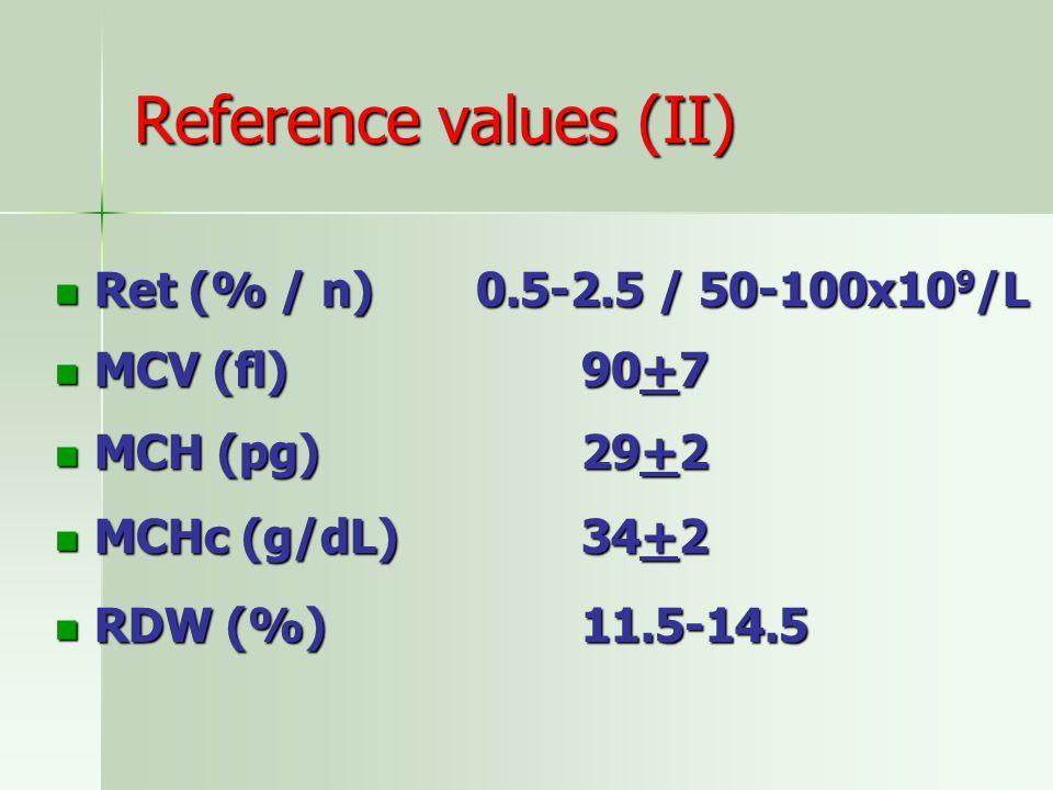 Reference values (II) Ret (% / n)0.5-2.5 / 50-100x10 9 /L Ret (% / n)0.5-2.5 / 50-100x10 9 /L MCV (fl)90+7 MCV (fl)90+7 MCH (pg)29+2 MCH (pg)29+2 MCHc (g/dL)34+2 MCHc (g/dL)34+2 RDW (%)11.5-14.5 RDW (%)11.5-14.5