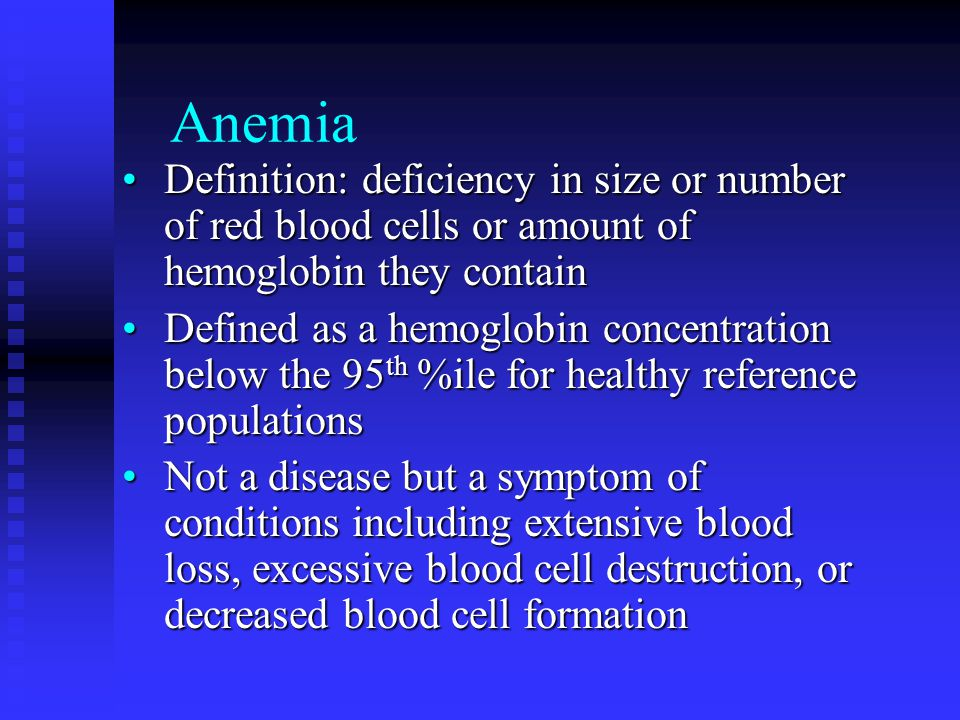 Thalassemia Severe inherited anemia affecting mostly people of Mediterranean extractionSevere inherited anemia affecting mostly people of Mediterranean extraction Defective globin formation in hemoglobin leads to increased blood volume, splenomegaly, bone marrow expansion, facial deformities, osteomalacia, bone changesDefective globin formation in hemoglobin leads to increased blood volume, splenomegaly, bone marrow expansion, facial deformities, osteomalacia, bone changes Iron buildup due to transfusions requires chelation therapy to remove excess ironIron buildup due to transfusions requires chelation therapy to remove excess iron