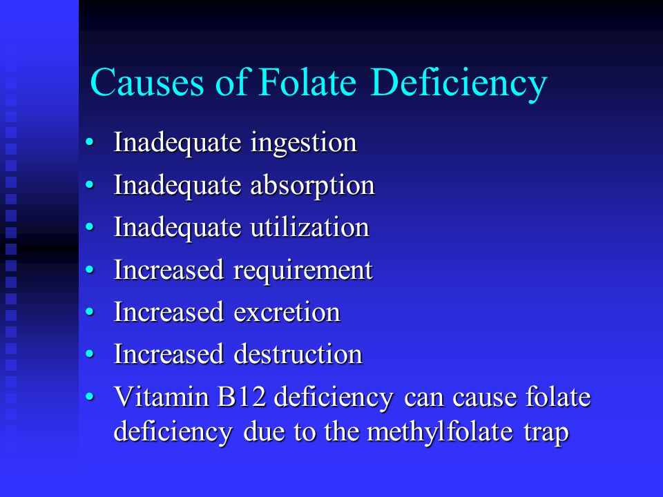 Causes of Folate Deficiency Inadequate ingestionInadequate ingestion Inadequate absorptionInadequate absorption Inadequate utilizationInadequate utili