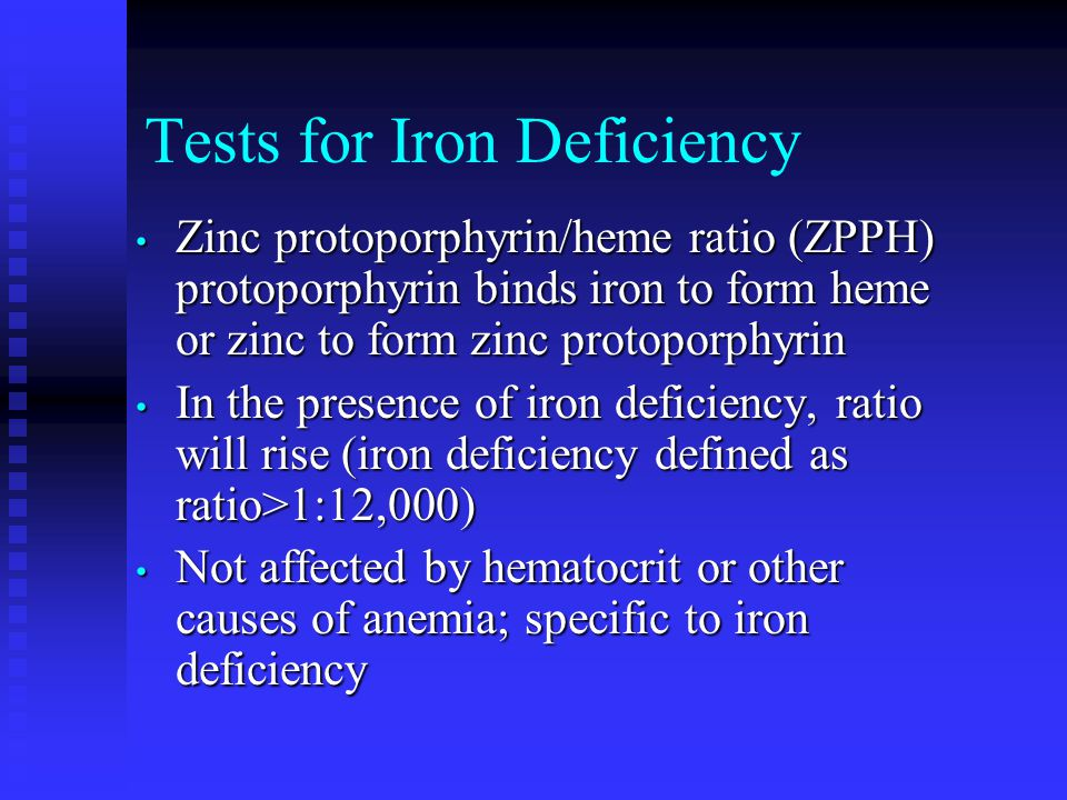 Tests for Iron Deficiency Zinc protoporphyrin/heme ratio (ZPPH) protoporphyrin binds iron to form heme or zinc to form zinc protoporphyrin Zinc protoporphyrin/heme ratio (ZPPH) protoporphyrin binds iron to form heme or zinc to form zinc protoporphyrin In the presence of iron deficiency, ratio will rise (iron deficiency defined as ratio>1:12,000) In the presence of iron deficiency, ratio will rise (iron deficiency defined as ratio>1:12,000) Not affected by hematocrit or other causes of anemia; specific to iron deficiency Not affected by hematocrit or other causes of anemia; specific to iron deficiency