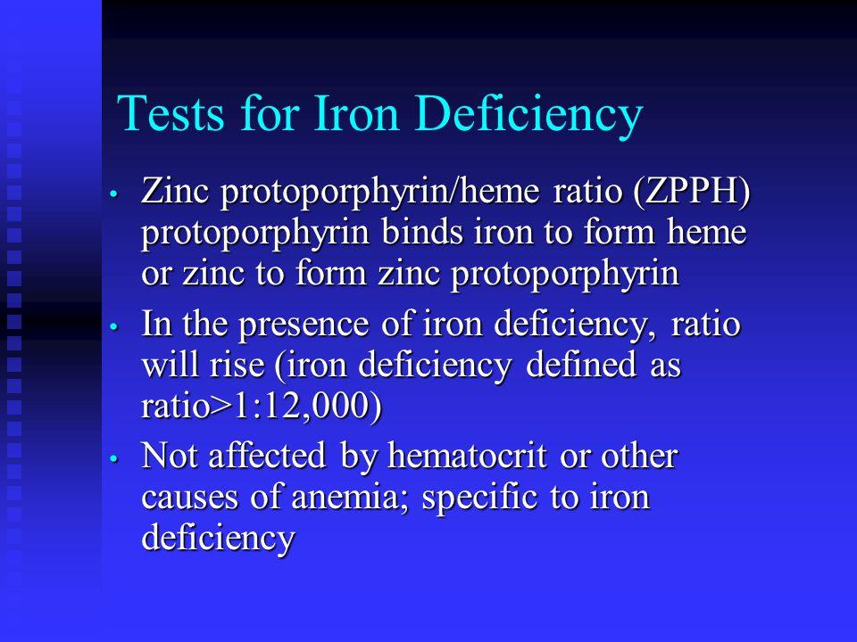 Tests for Iron Deficiency Zinc protoporphyrin/heme ratio (ZPPH) protoporphyrin binds iron to form heme or zinc to form zinc protoporphyrin Zinc protop