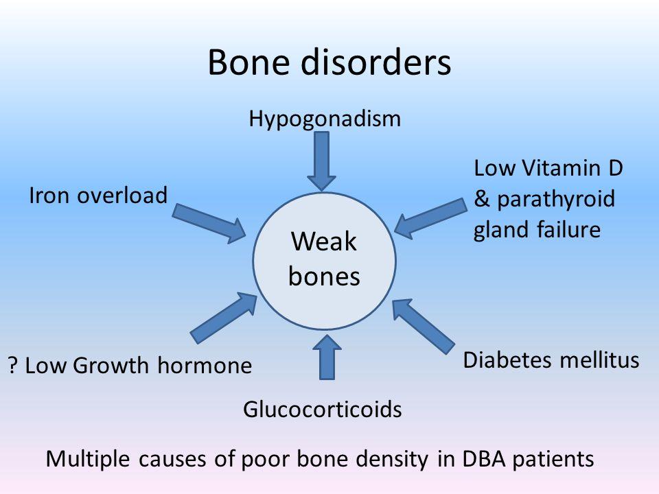 Bone disorders Multiple causes of poor bone density in DBA patients Weak bones Hypogonadism Low Vitamin D & parathyroid gland failure Iron overload .