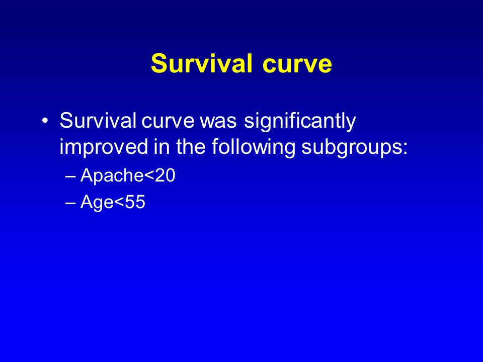 Survival curve Survival curve was significantly improved in the following subgroups: –Apache<20 –Age<55