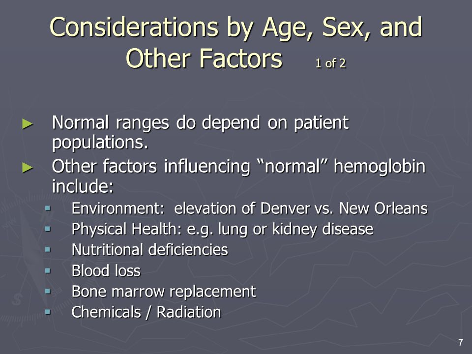 """7 Considerations by Age, Sex, and Other Factors 1 of 2 ► Normal ranges do depend on patient populations. ► Other factors influencing """"normal"""" hemoglob"""