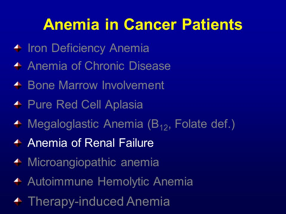 Anemia in Cancer Patients Iron Deficiency Anemia Anemia of Chronic Disease Bone Marrow Involvement Pure Red Cell Aplasia Megaloglastic Anemia (B 12, Folate def.) Anemia of Renal Failure Microangiopathic anemia Autoimmune Hemolytic Anemia Therapy-induced Anemia