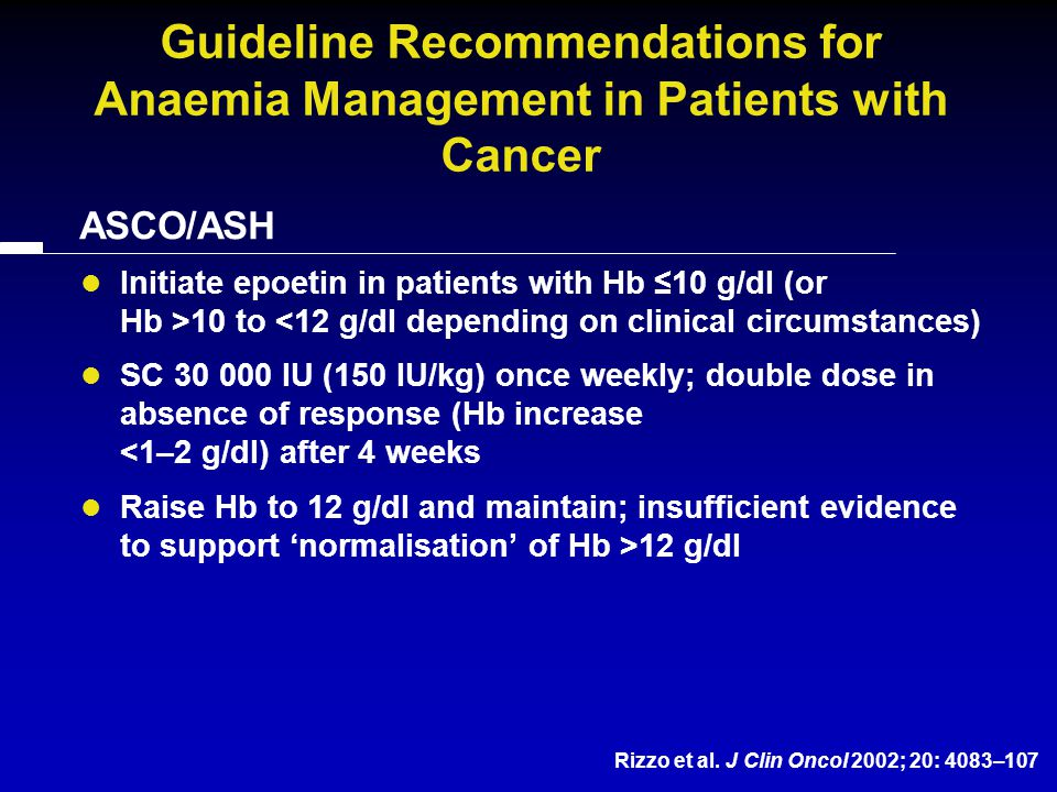 Guideline Recommendations for Anaemia Management in Patients with Cancer ASCO/ASH Initiate epoetin in patients with Hb ≤10 g/dl (or Hb >10 to <12 g/dl depending on clinical circumstances) SC 30 000 IU (150 IU/kg) once weekly; double dose in absence of response (Hb increase <1–2 g/dl) after 4 weeks Raise Hb to 12 g/dl and maintain; insufficient evidence to support 'normalisation' of Hb >12 g/dl Rizzo et al.