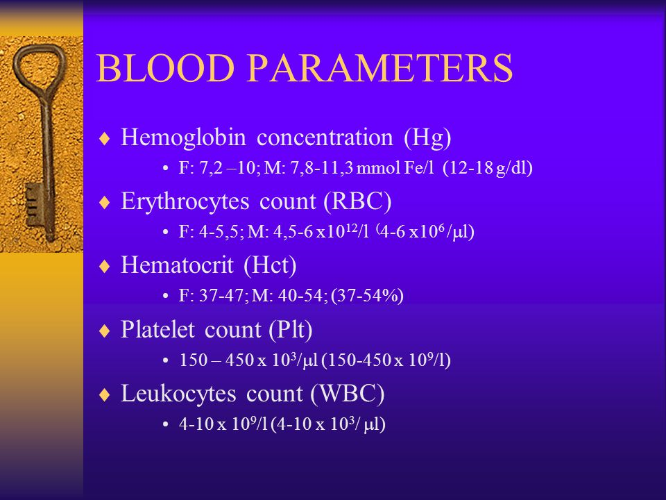 BLOOD PARAMETERS  Hemoglobin concentration (Hg) F: 7,2 –10; M: 7,8-11,3 mmol Fe/l (12-18 g/dl)  Erythrocytes count (RBC) F: 4-5,5; M: 4,5-6 x10 12 /l ( 4-6 x10 6 /  l)  Hematocrit (Hct) F: 37-47; M: 40-54; (37-54%)  Platelet count (Plt) 150 – 450 x 10 3 /  l (150-450 x 10 9 /l)  Leukocytes count (WBC) 4-10 x 10 9 /l (4-10 x 10 3 /  l)