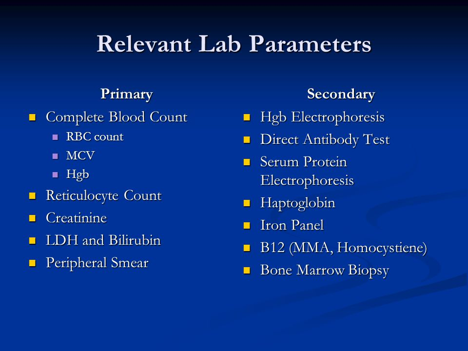 Relevant Lab Parameters Primary Complete Blood Count Complete Blood Count RBC count RBC count MCV MCV Hgb Hgb Reticulocyte Count Reticulocyte Count Cr