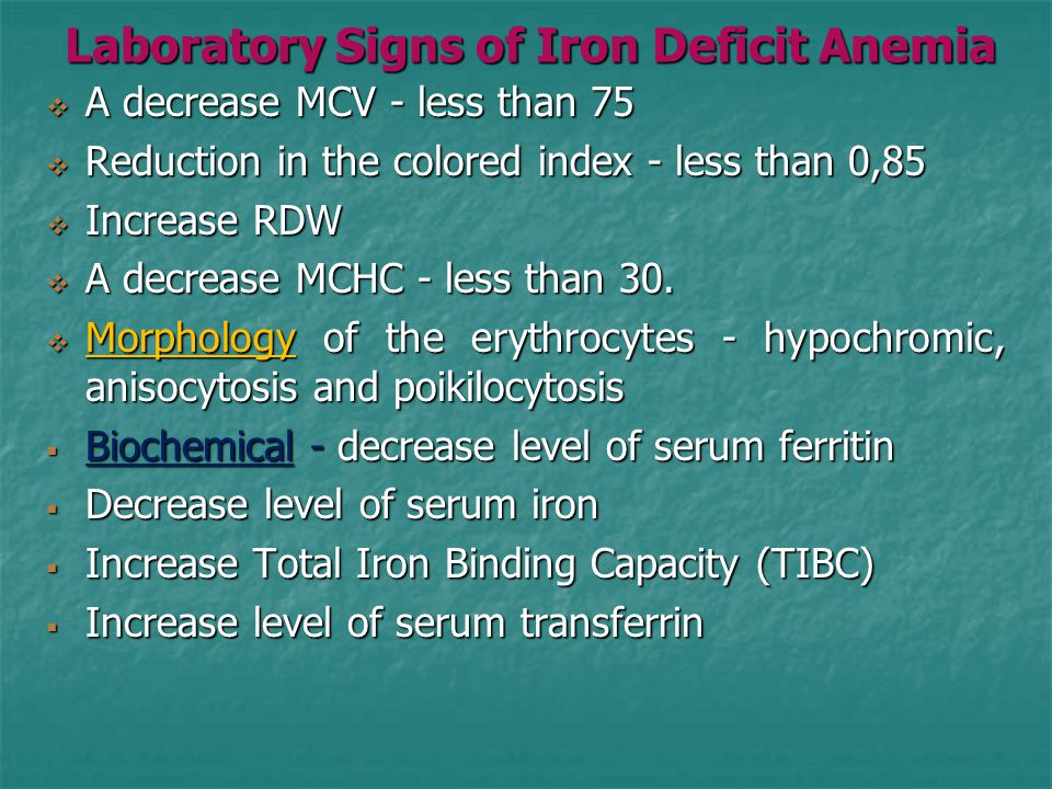 Laboratory Signs of Iron Deficit Anemia  A decrease MCV - less than 75  Reduction in the colored index - less than 0,85  Increase RDW  A decrease MCHC - less than 30.