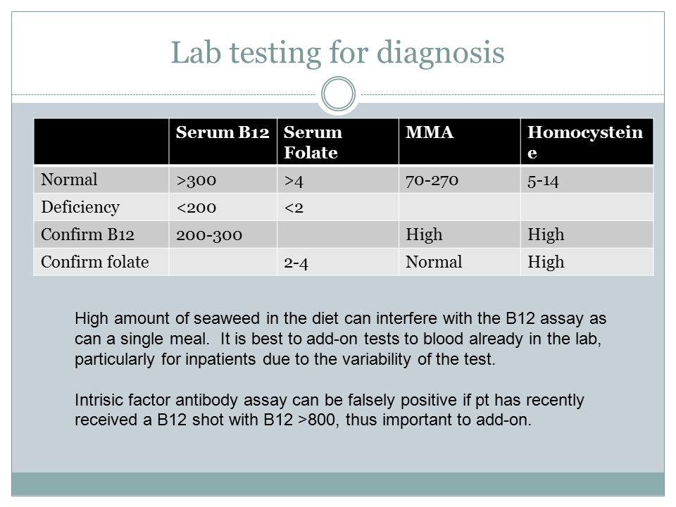 Lab testing for diagnosis Serum B12Serum Folate MMAHomocystein e Normal>300>470-2705-14 Deficiency<200<2 Confirm B12200-300High Confirm folate2-4NormalHigh High amount of seaweed in the diet can interfere with the B12 assay as can a single meal.