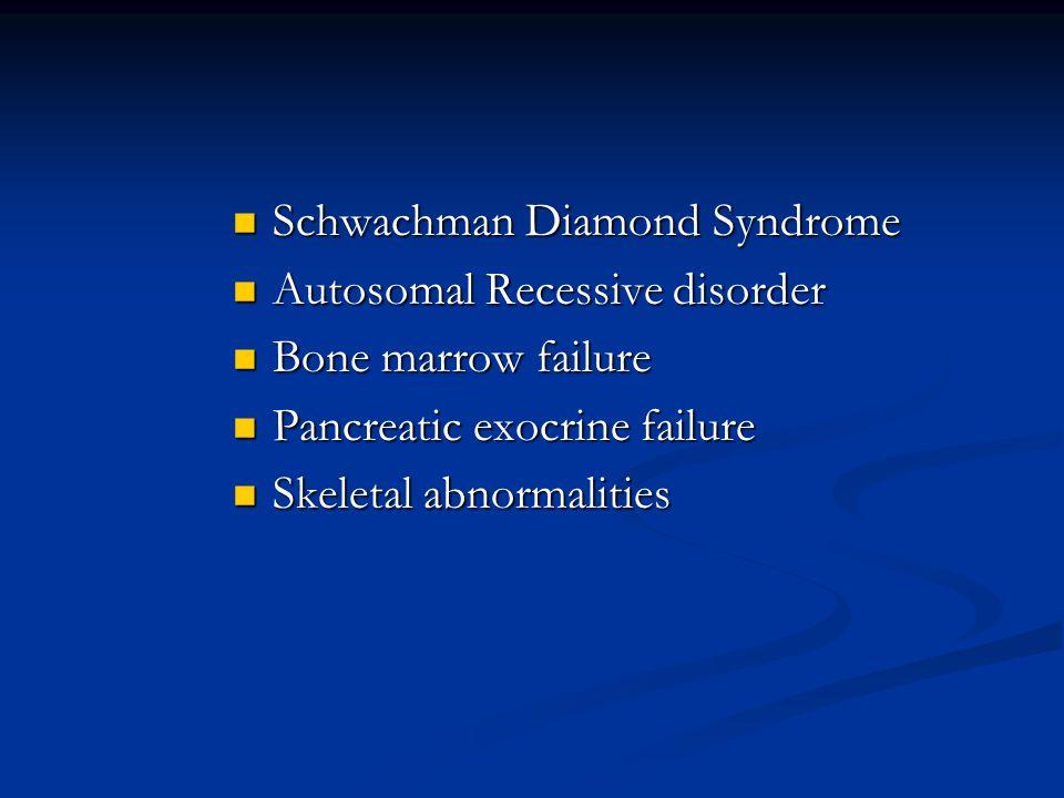 Schwachman Diamond Syndrome Schwachman Diamond Syndrome Autosomal Recessive disorder Autosomal Recessive disorder Bone marrow failure Bone marrow fail