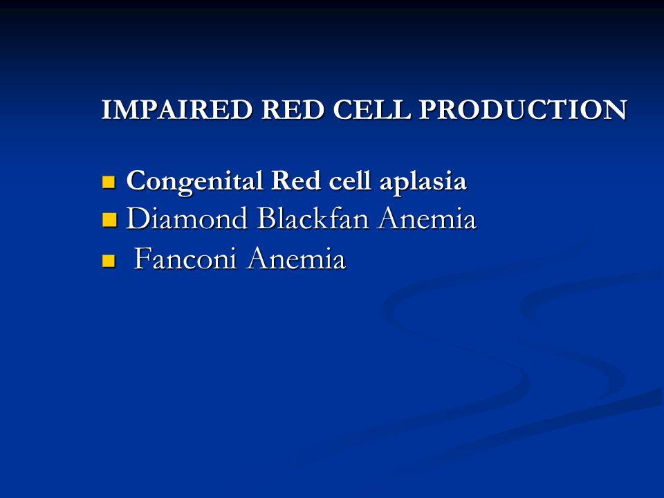 INCREASED RED CELL DESTRUCTION Hemolytic Anemias Hemolytic Anemias RED CELL MEMBRANE DISORDERS Hereditary Spherocytosis RED CELL ENZYME DISORDER Glucose 6 – phosphate dehydrogenase deficiency (G6PD) Hemoglobinopathies Sickle cell disease Thalassemia
