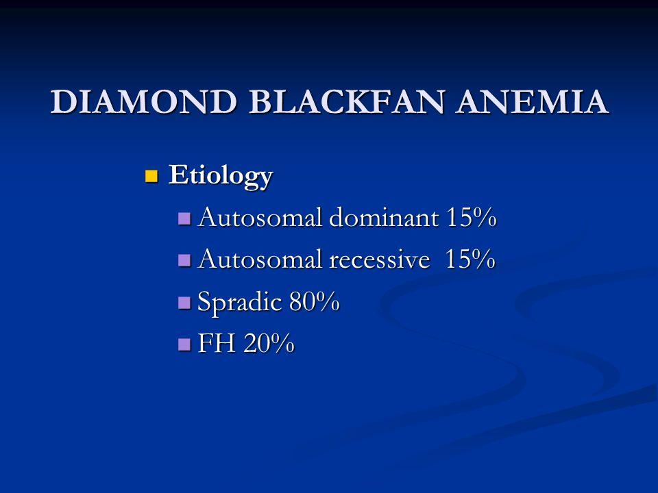 DIAMOND BLACKFAN ANEMIA Etiology Etiology Autosomal dominant 15% Autosomal dominant 15% Autosomal recessive 15% Autosomal recessive 15% Spradic 80% Sp