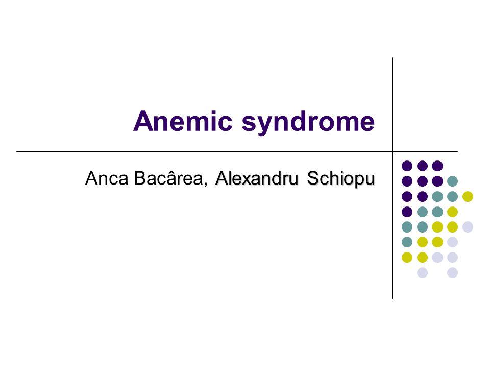 Anemic syndrome Alexandru Schiopu Anca Bacârea, Alexandru Schiopu
