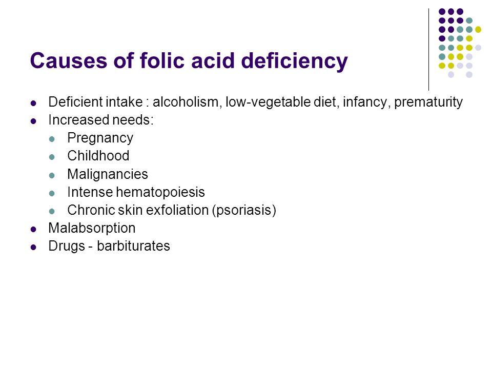 Causes of folic acid deficiency Deficient intake : alcoholism, low-vegetable diet, infancy, prematurity Increased needs: Pregnancy Childhood Malignanc