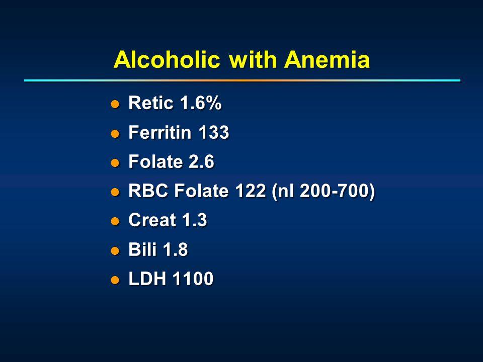 Alcoholic with Anemia Retic 1.6% Ferritin 133 Folate 2.6 RBC Folate 122 (nl 200-700) Creat 1.3 Bili 1.8 LDH 1100 Retic 1.6% Ferritin 133 Folate 2.6 RBC Folate 122 (nl 200-700) Creat 1.3 Bili 1.8 LDH 1100