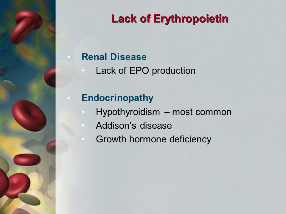 Lack of Erythropoietin Renal Disease Lack of EPO production Endocrinopathy Hypothyroidism – most common Addison's disease Growth hormone deficiency