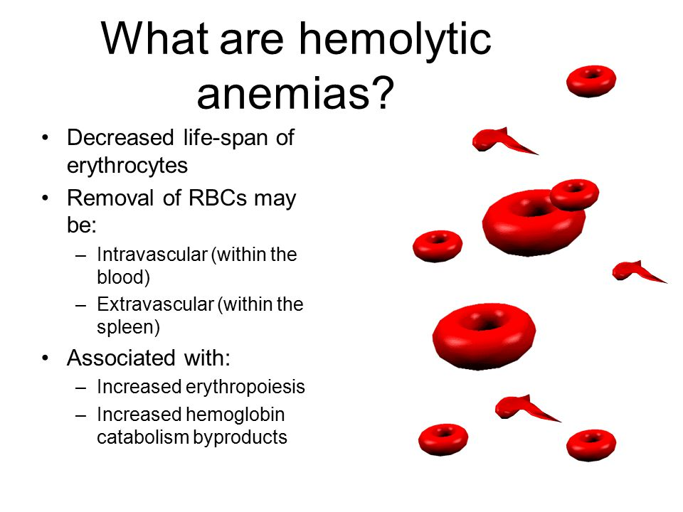 What are hemolytic anemias? Decreased life-span of erythrocytes Removal of RBCs may be: –Intravascular (within the blood) –Extravascular (within the s
