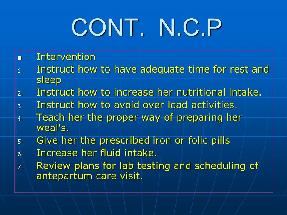 CONT.N.C.P CONT. N.C.P Intervention Intervention 1.