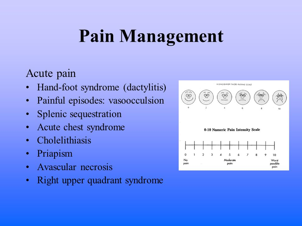 Pain Management Acute pain Hand-foot syndrome (dactylitis) Painful episodes: vasoocculsion Splenic sequestration Acute chest syndrome Cholelithiasis Priapism Avascular necrosis Right upper quadrant syndrome