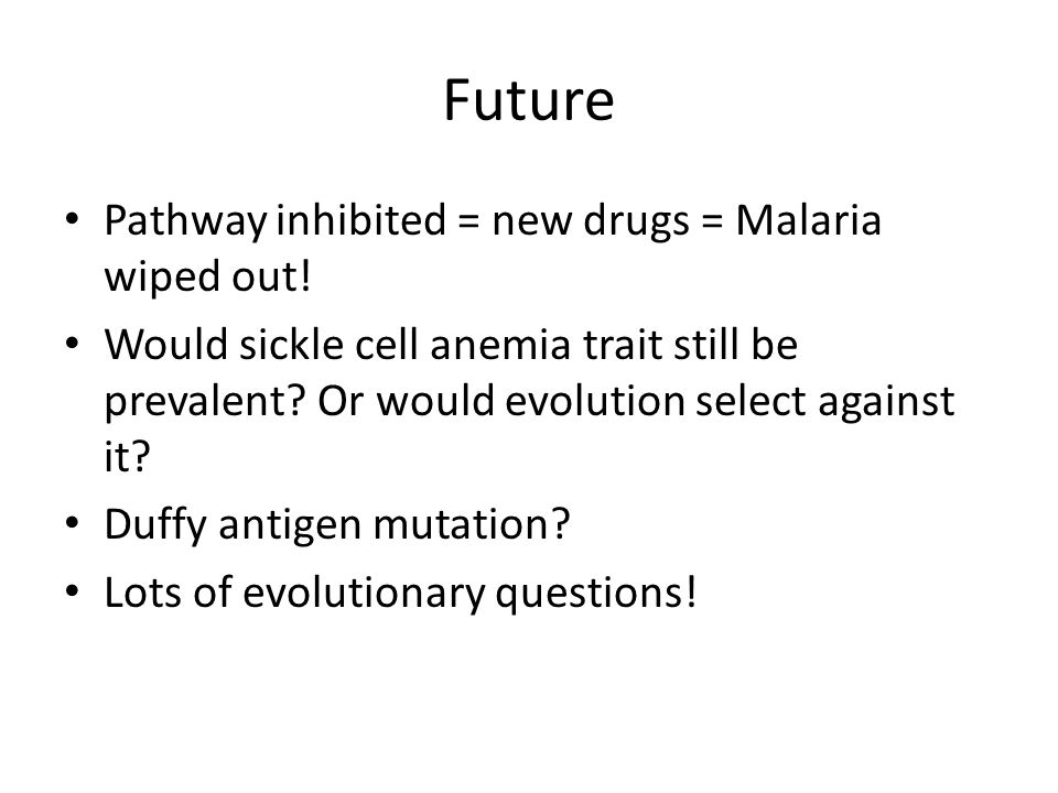 Future Pathway inhibited = new drugs = Malaria wiped out! Would sickle cell anemia trait still be prevalent? Or would evolution select against it? Duf