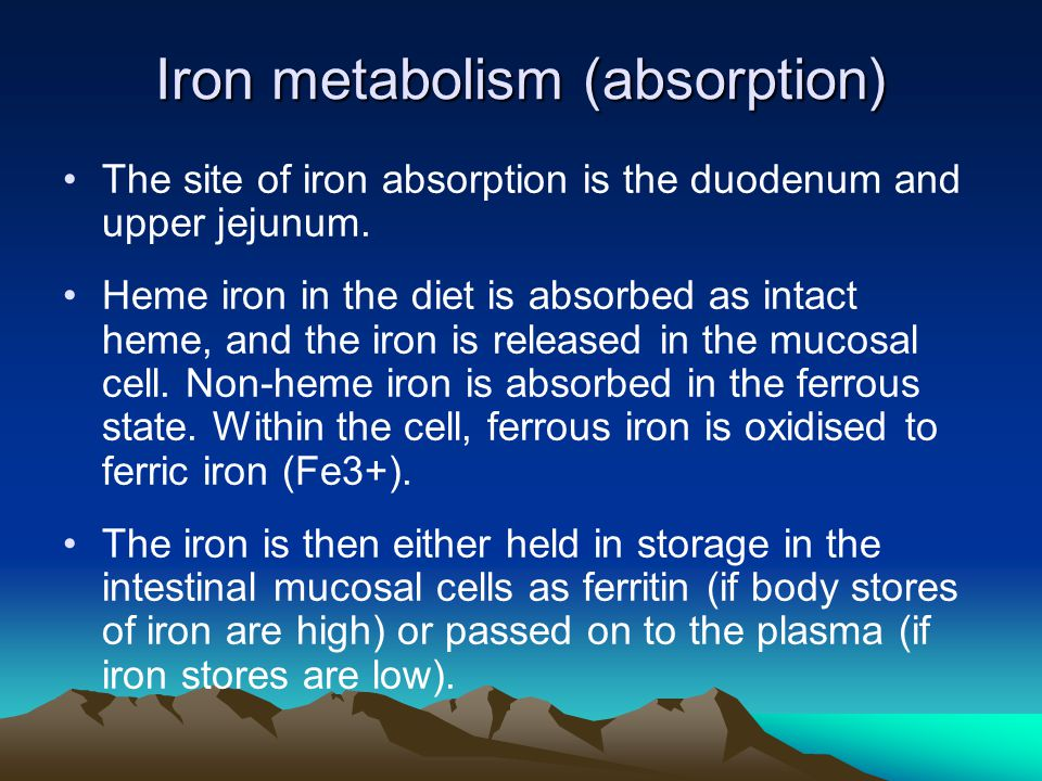 Iron metabolism (absorption) The site of iron absorption is the duodenum and upper jejunum. Heme iron in the diet is absorbed as intact heme, and the