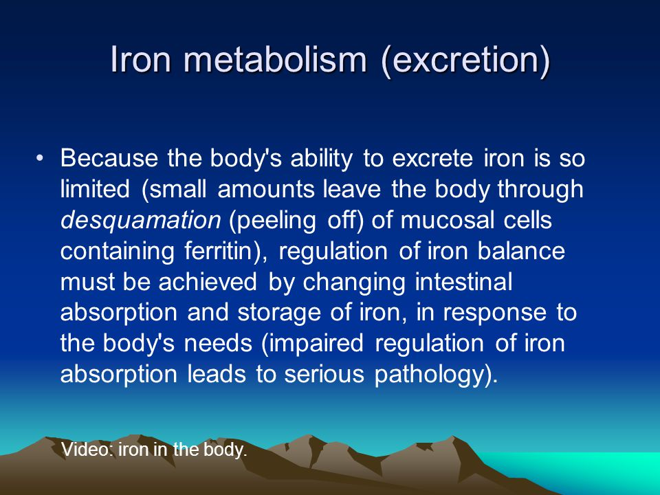 Iron metabolism (excretion) Because the body s ability to excrete iron is so limited (small amounts leave the body through desquamation (peeling off) of mucosal cells containing ferritin), regulation of iron balance must be achieved by changing intestinal absorption and storage of iron, in response to the body s needs (impaired regulation of iron absorption leads to serious pathology).
