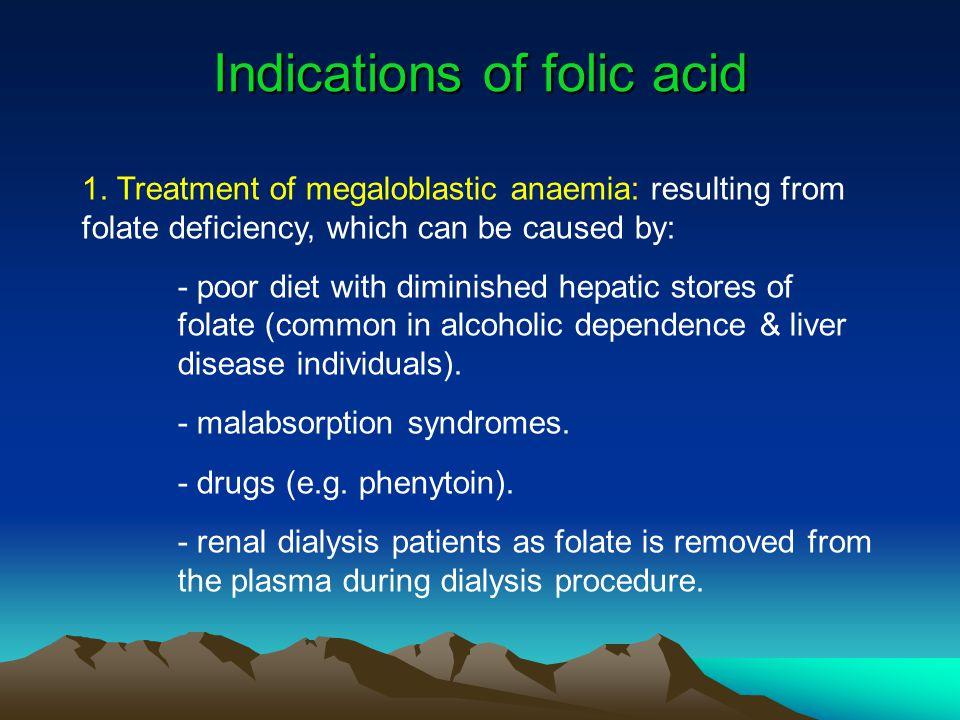 Indications of folic acid 1.