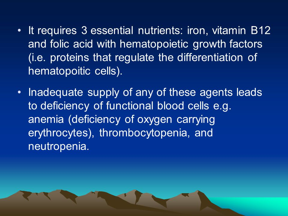It requires 3 essential nutrients: iron, vitamin B12 and folic acid with hematopoietic growth factors (i.e.