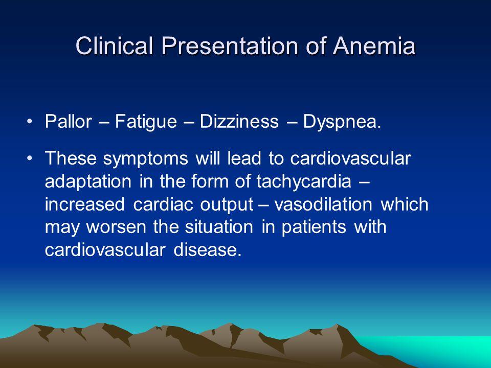 Clinical Presentation of Anemia Pallor – Fatigue – Dizziness – Dyspnea.