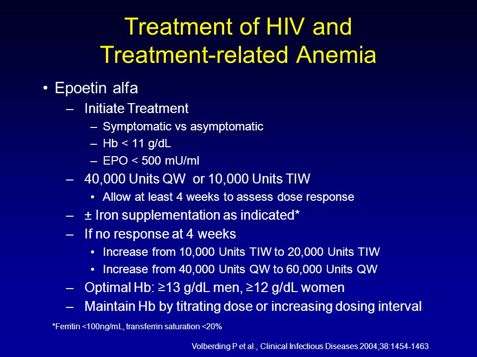 Treatment of HIV and Treatment-related Anemia Epoetin alfa –Initiate Treatment –Symptomatic vs asymptomatic –Hb < 11 g/dL –EPO < 500 mU/ml –40,000 Units QW or 10,000 Units TIW Allow at least 4 weeks to assess dose response –± Iron supplementation as indicated* –If no response at 4 weeks Increase from 10,000 Units TIW to 20,000 Units TIW Increase from 40,000 Units QW to 60,000 Units QW –Optimal Hb: ≥13 g/dL men, ≥12 g/dL women –Maintain Hb by titrating dose or increasing dosing interval *Ferritin <100ng/mL, transferrin saturation <20% Volberding P et al., Clinical Infectious Diseases 2004;38:1454-1463