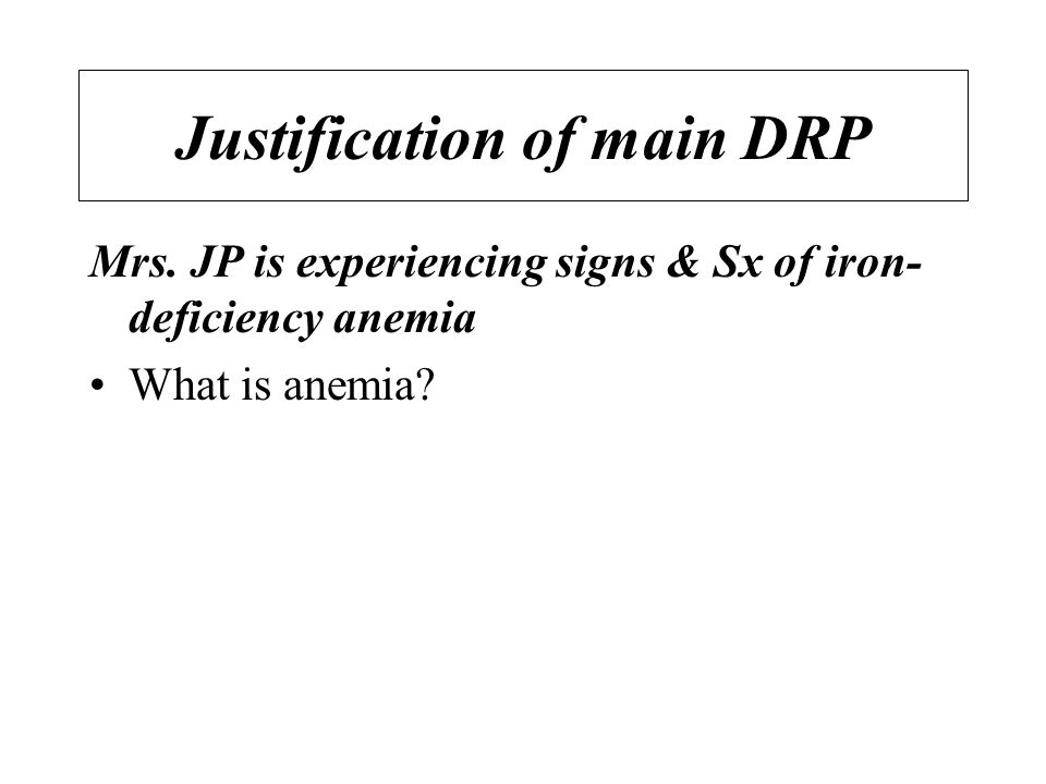 Justification of main DRP Mrs.