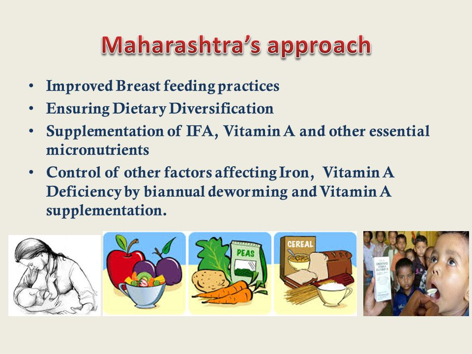 Improved Breast feeding practices Ensuring Dietary Diversification Supplementation of IFA, Vitamin A and other essential micronutrients Control of other factors affecting Iron, Vitamin A Deficiency by biannual deworming and Vitamin A supplementation.