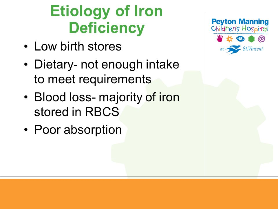 Etiology of Iron Deficiency Low birth stores Dietary- not enough intake to meet requirements Blood loss- majority of iron stored in RBCS Poor absorpti
