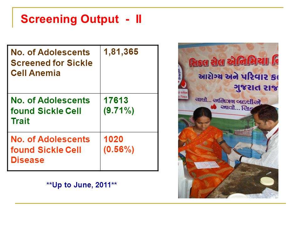**Up to June, 2011** No. of Adolescents Screened for Sickle Cell Anemia 1,81,365 No. of Adolescents found Sickle Cell Trait 17613 (9.71%) No. of Adole