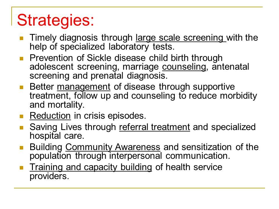 Treatment and follow up Adolescent Screening Antenatal Screening & Husband Screening Newborn Screening Mass Screening Screening Approach Adopted in Program