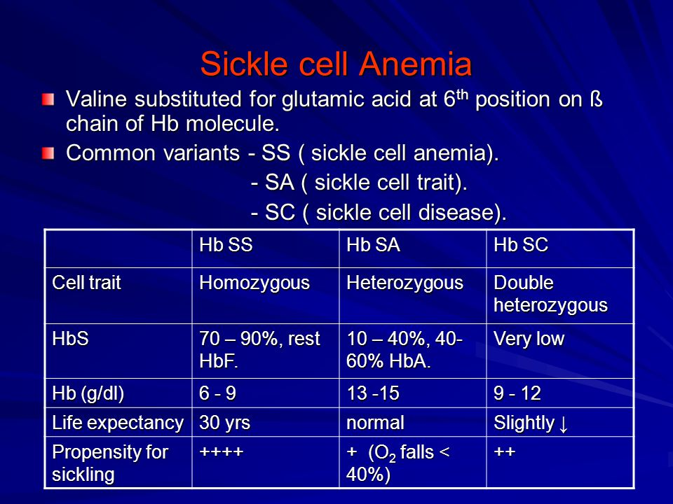 Sickle cell Anemia Valine substituted for glutamic acid at 6 th position on ß chain of Hb molecule. Common variants - SS ( sickle cell anemia). - SA (