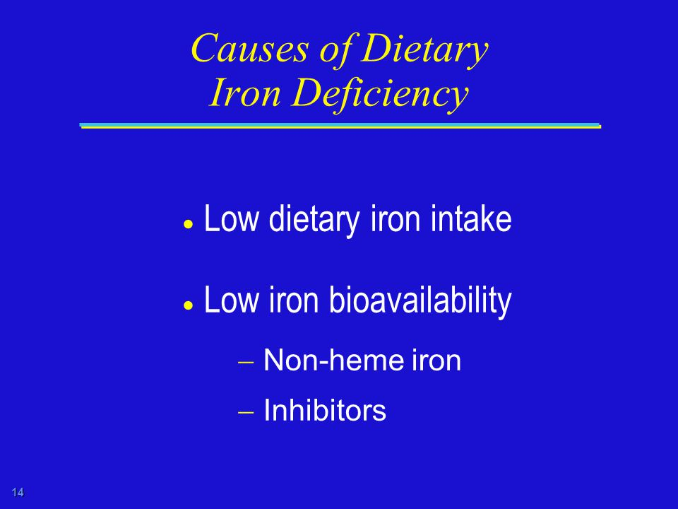 14 Causes of Dietary Iron Deficiency  Low dietary iron intake  Low iron bioavailability  Non-heme iron  Inhibitors