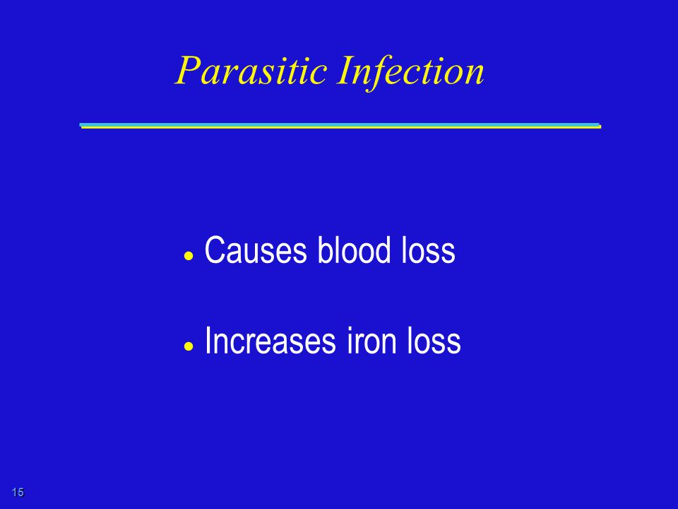 15 Parasitic Infection  Causes blood loss  Increases iron loss