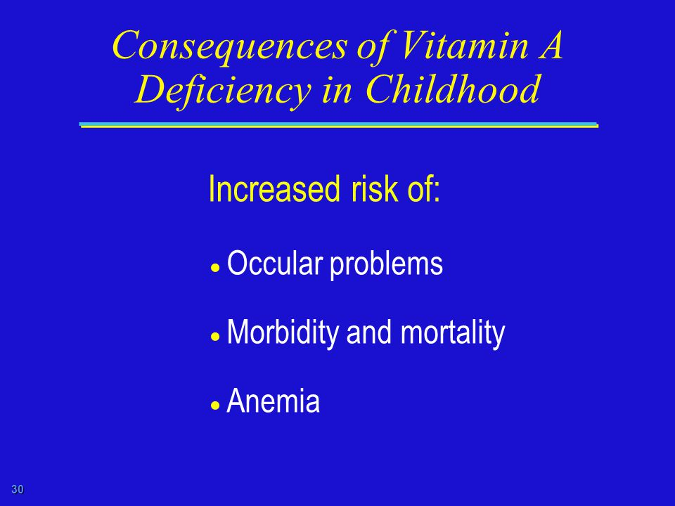 30 Consequences of Vitamin A Deficiency in Childhood Increased risk of:  Occular problems  Morbidity and mortality  Anemia