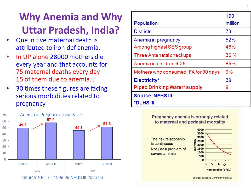 2 Why Anemia and Why Uttar Pradesh, India? One in five maternal death is attributed to iron def anemia. In UP alone 28000 mothers die every year and t
