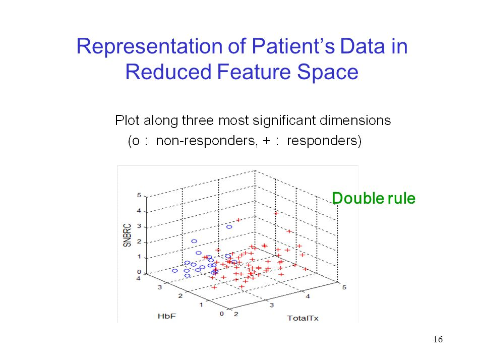 16 Representation of Patient's Data in Reduced Feature Space Double rule