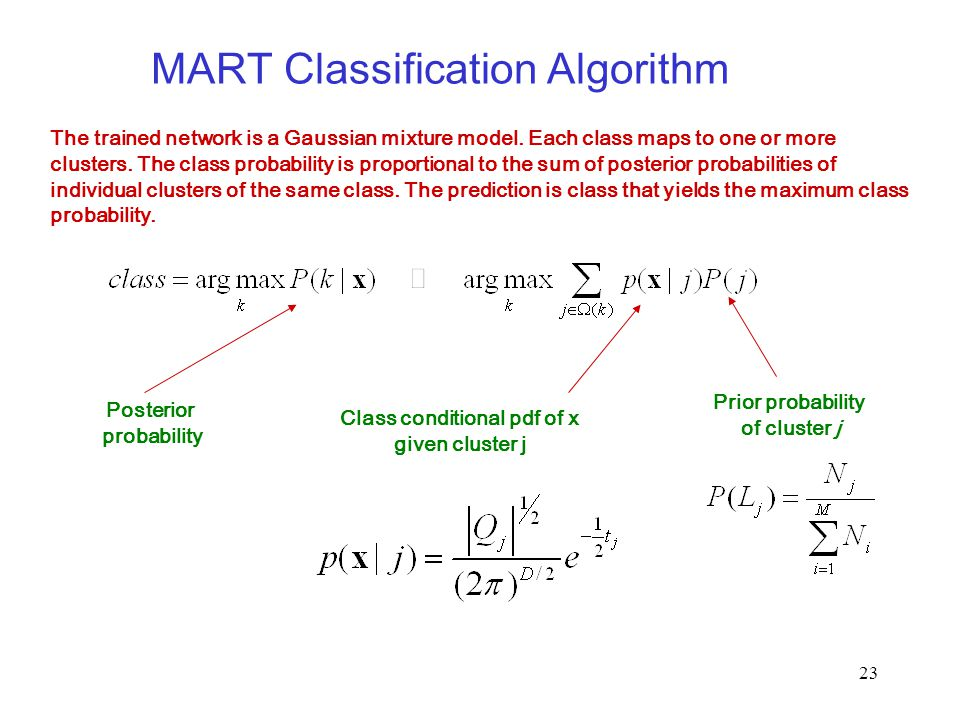23 MART Classification Algorithm The trained network is a Gaussian mixture model. Each class maps to one or more clusters. The class probability is pr