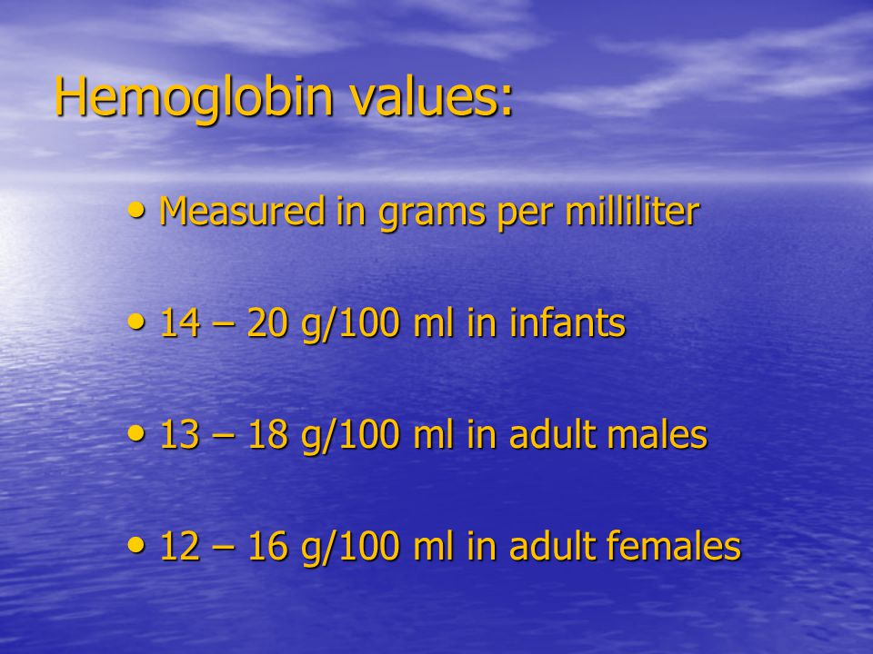 Hemoglobin values: Measured in grams per milliliter Measured in grams per milliliter 14 – 20 g/100 ml in infants 14 – 20 g/100 ml in infants 13 – 18 g