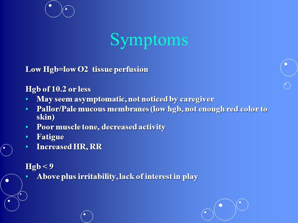 Symptoms Low Hgb=low O2 tissue perfusion Hgb of 10.2 or less May seem asymptomatic, not noticed by caregiverMay seem asymptomatic, not noticed by care