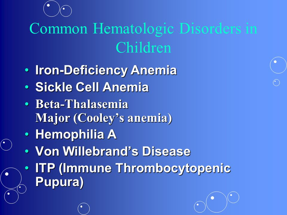 Diagnosis Low RBC'sLow RBC's Low HGBLow HGB –Mild ( < 10.2), Moderate (8-9), Severe (< 7) Low HCTLow HCT Low IronLow Iron High Transferrin (TIBC)High Transferrin (TIBC) Low FerritinLow Ferritin